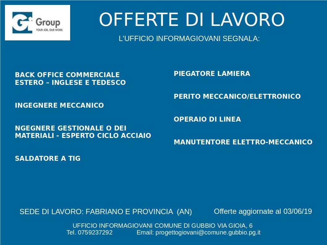 Offerte del 3 giugno da Gi Group Fabriano | Informagiovani Comune di ...